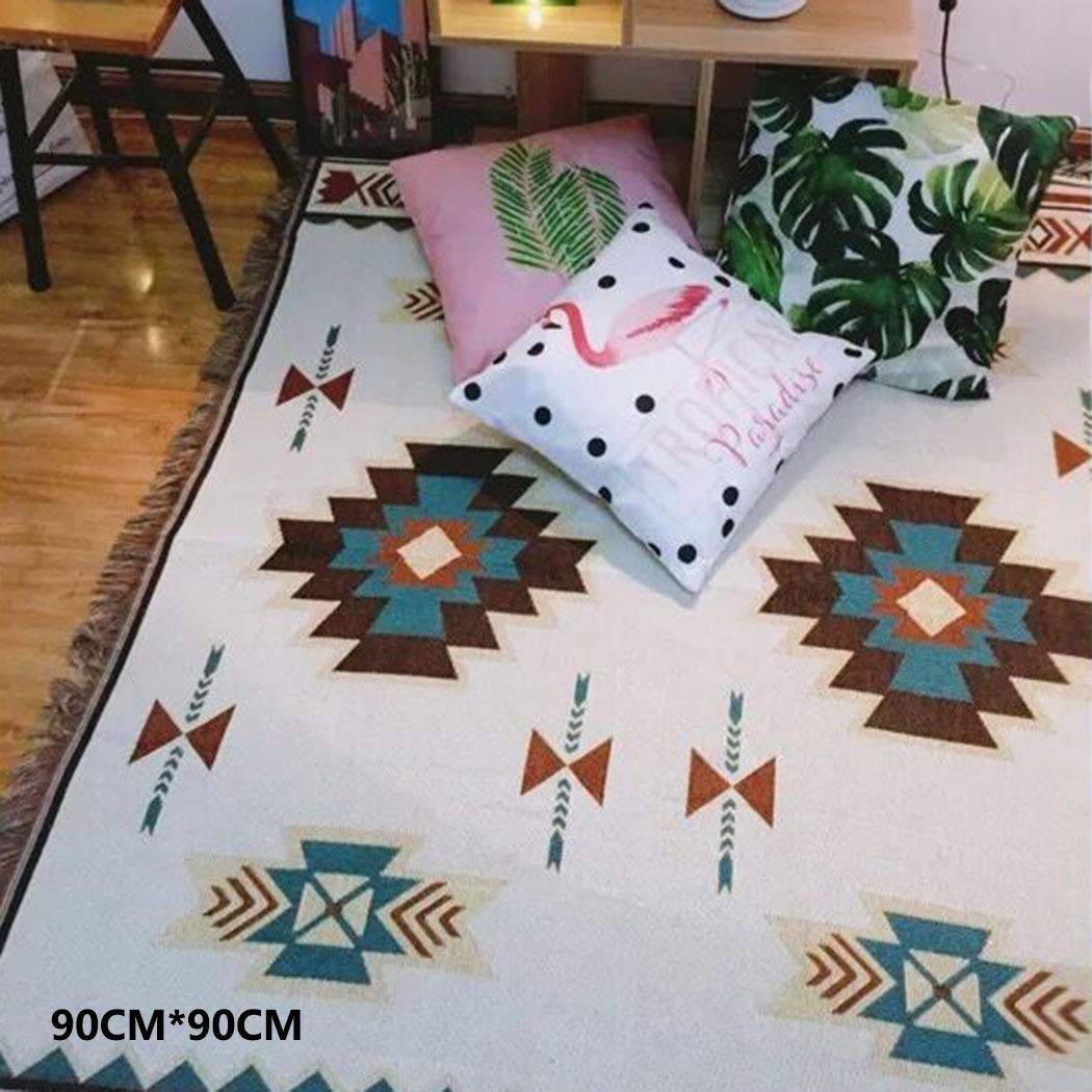 GUIGSI Ethnic Style Blanket Floral Cotton Rug