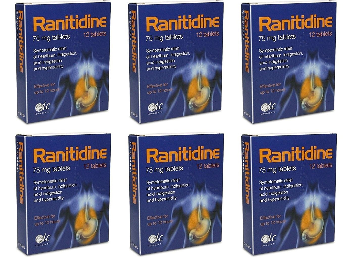 Ranitidine Tabs 75Mg 12 x 6 Indigestion and Heartburn Relief