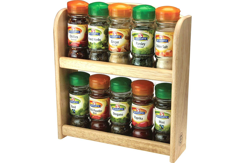 Apollo Filled Schwartz Spice Rack Set,10 Jars