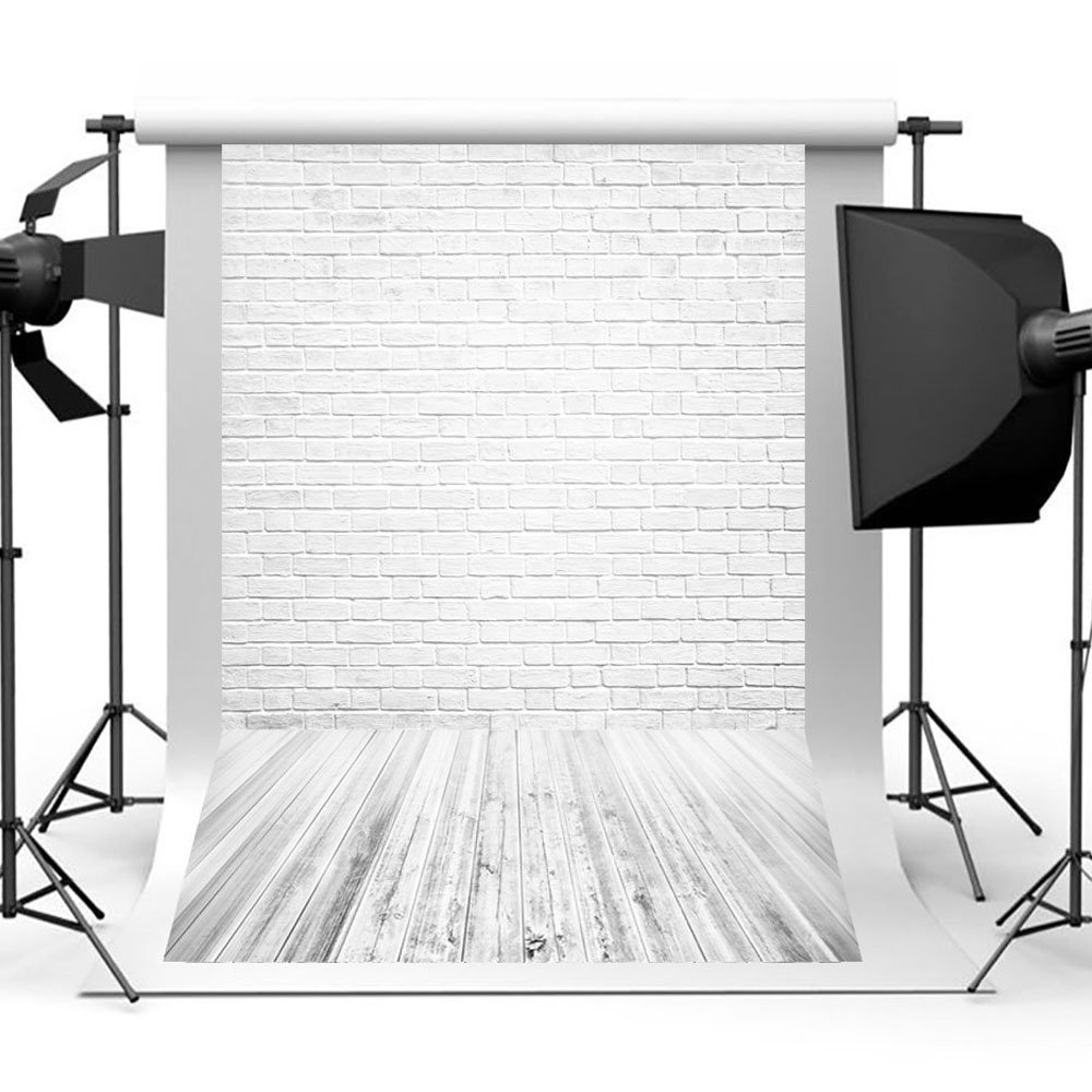 Aisnyho White Photography Backdrops Brick Wall Photo Backdrop Wooden Floor Background