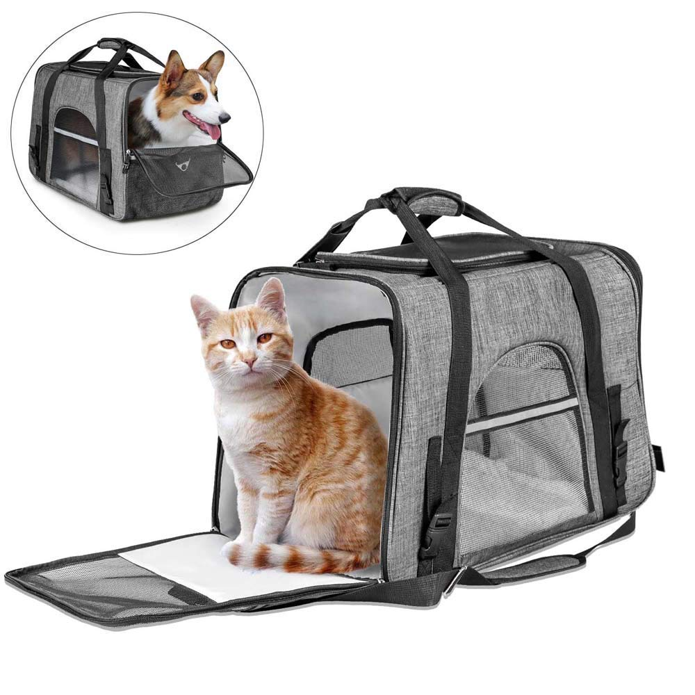 CLEEBOURG Fashion Pet Carrier Bag, Large Dog Cat Travel Carrier Bags