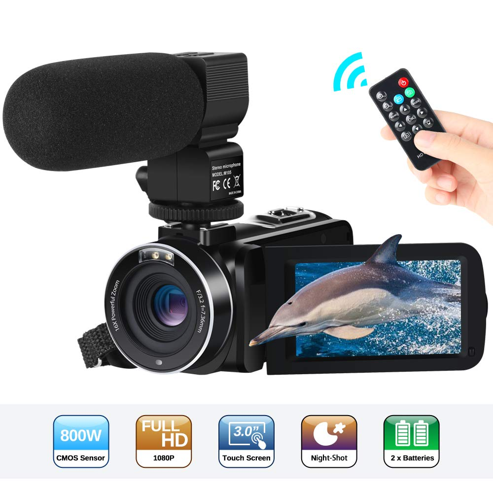 Camcorder Video Camera FHD 1080P 24MP 30FPS 3''LCD Touch Screen IR Night Vision Digital Camcorders
