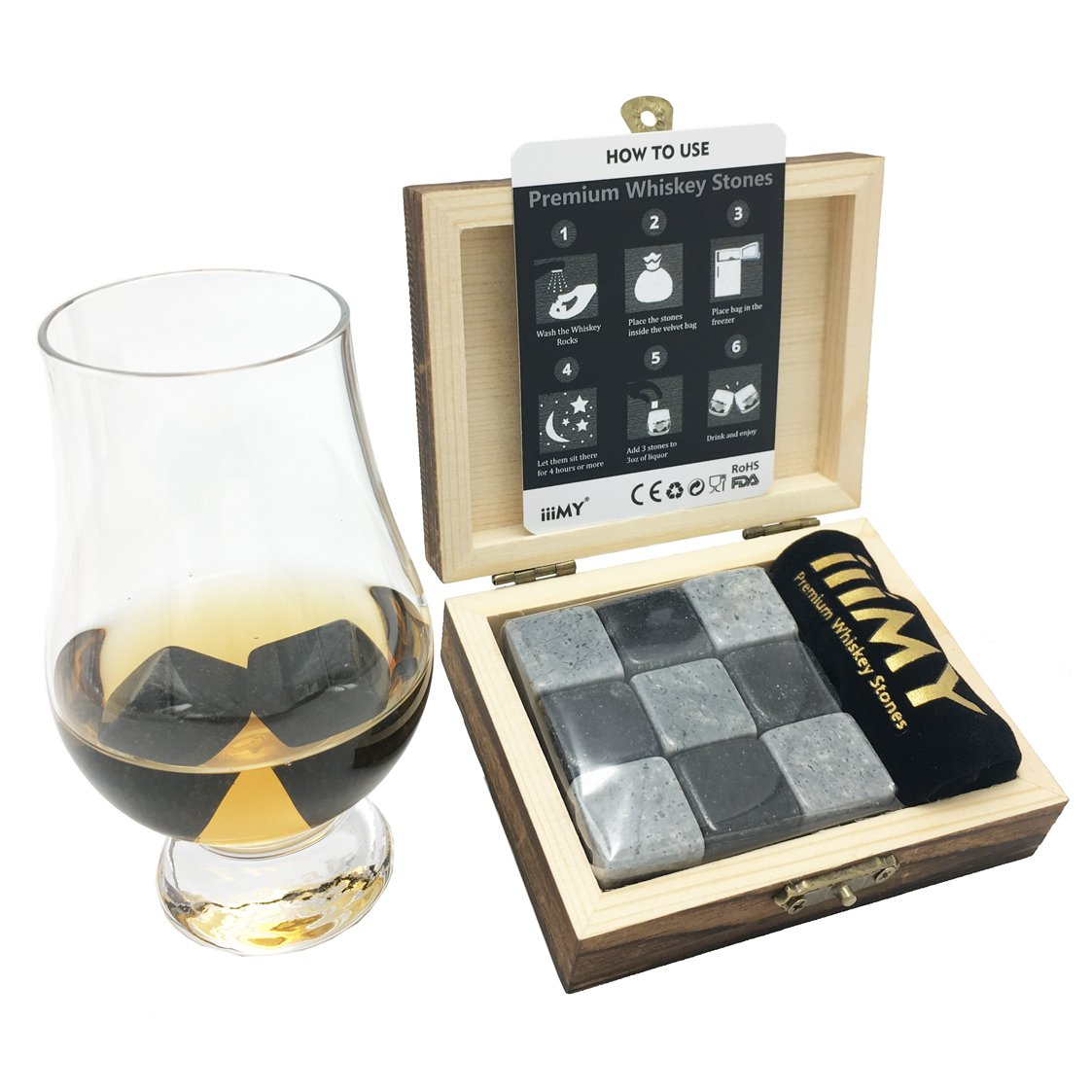 Whisky Stones Gift Set of 9 Natural Soapstone and Granite Chilling Rocks