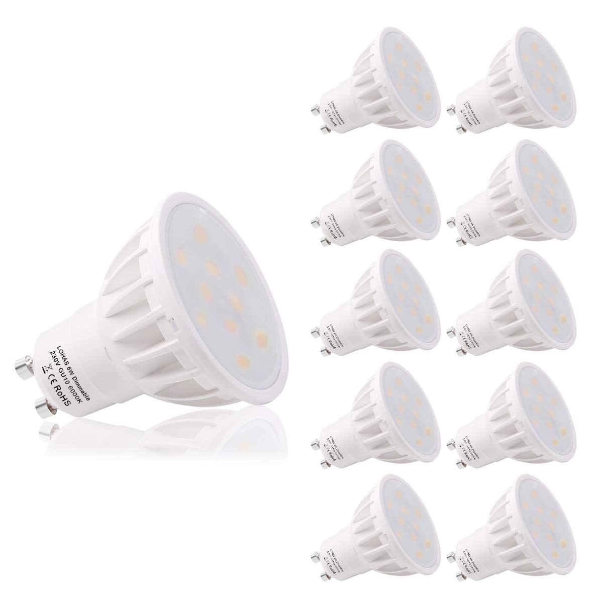 LOHAS Dimmable GU10 LED Bulbs, 6000K Day White, 6W Replacement for 50W