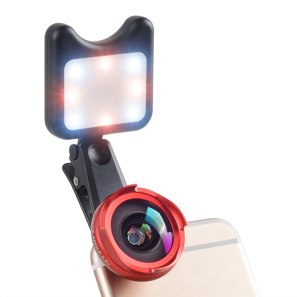 MIAO LAB 4 in 1 Camera Lens Kit 120 Degree Wide Angle Lens + 10X Macro Len + Kaleidoscope Lens + LED Flashlight Clip-on Phone No Distortion