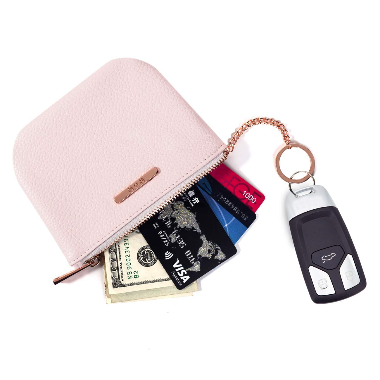 Womens Small Soft Coin Purse – PU Leather Zip Wallet with Key Ring New Year's Gifts – Pink