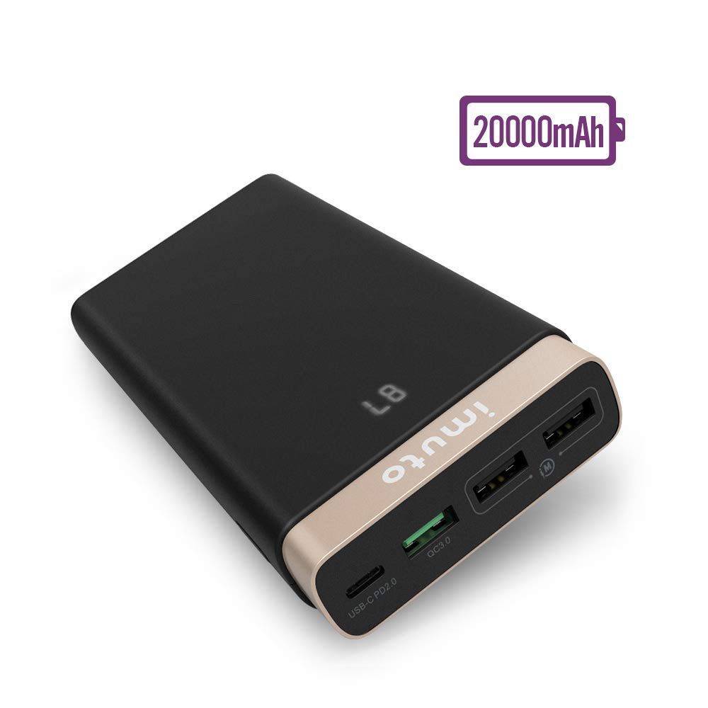 USB C PD Power Bank, imuto QC3.0 Portable Charger 20000mAh External Battery Pack