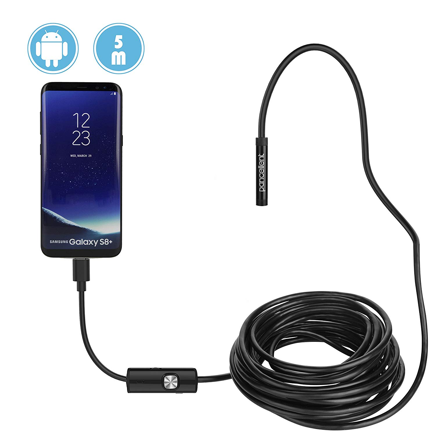 Pancellent USB Android Endoscope 2.0 Megapixels CMOS HD 2 in 1 Waterproof Borescope Inspection Camera Rigid Snake Cable