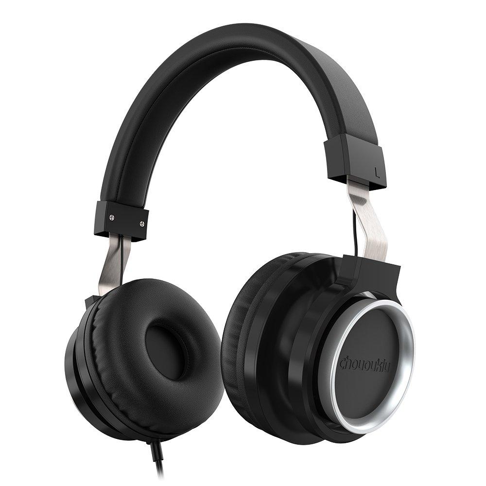 Chououkiu Over-Ear Adjustable Headphones Stereo Tangle-Free Wired Lightweight Portable Headband Headsets