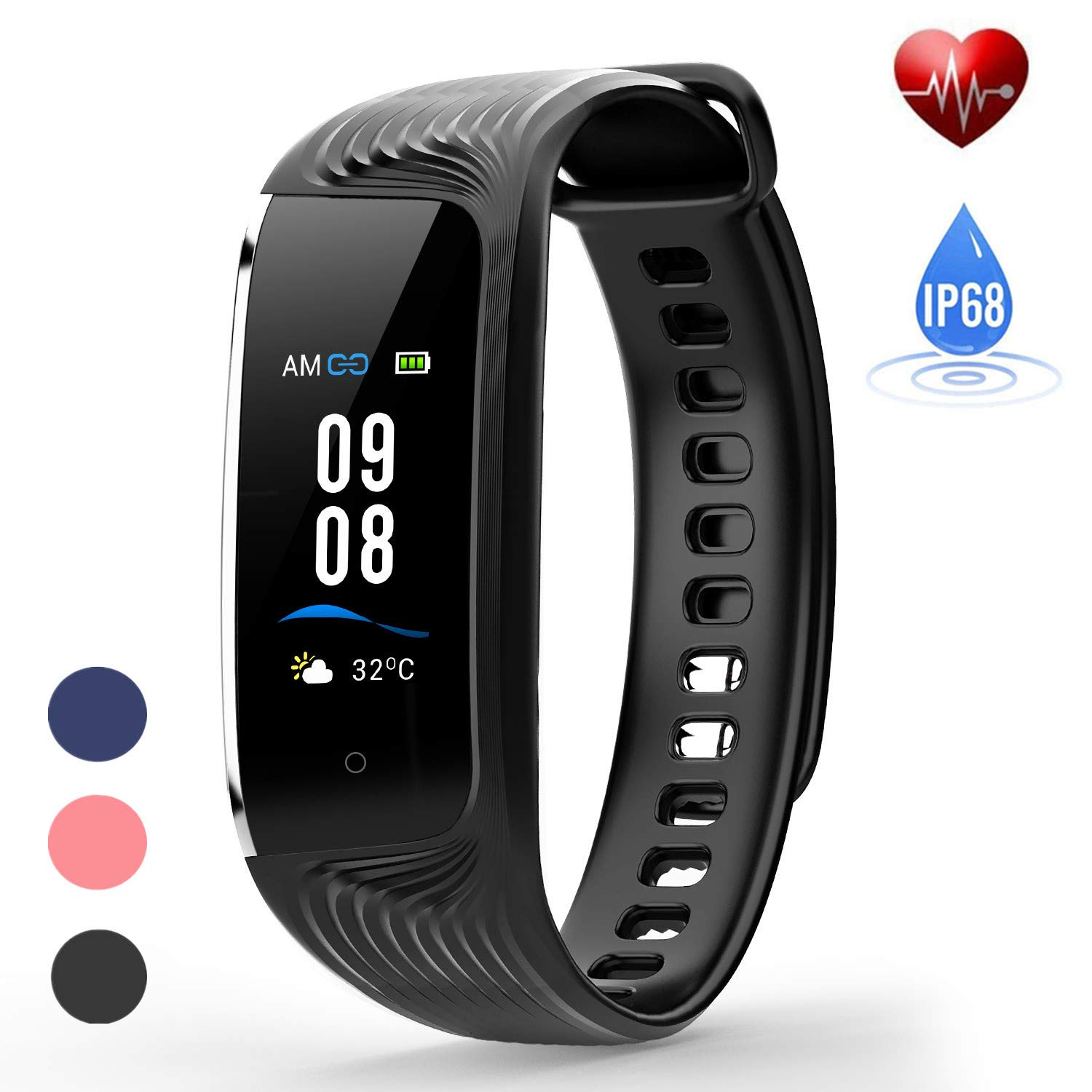 HONITURE Waterproof Fitness Tracker, Heart Rate Monitor Colour Screen Activity Tracker