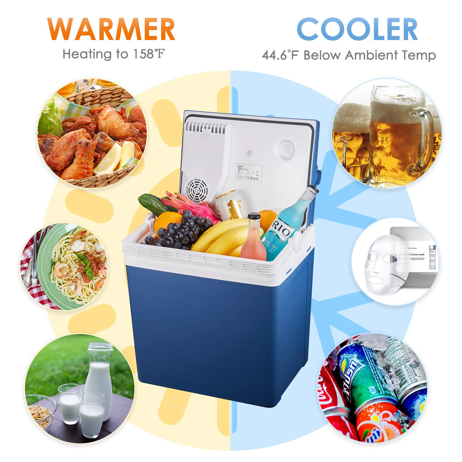 Tibek Electric Cool Box 12V DC Cool and Warm Coolbox for Car