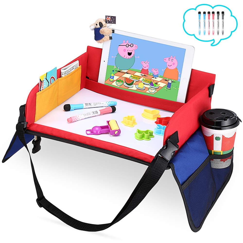 Snack & Play Travel Tray – Child Play Lap Tray with Dry Erasable Top + 6 Mark Pens with Strong Buckles Mesh Pockets Organiser Bag Car Activity Trays Toy Organiser