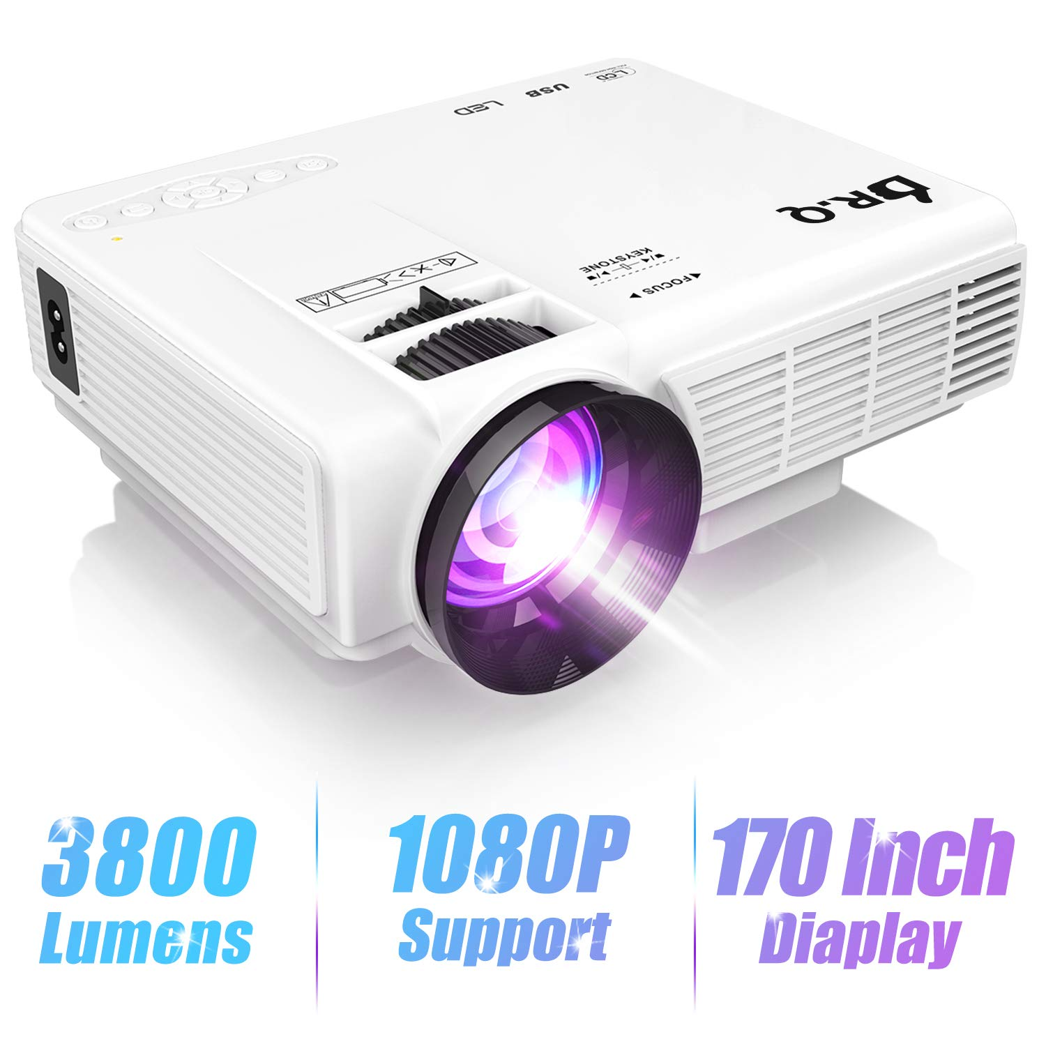 "DR.Q HI-04 Projector 1080P Full HD and 170"" Display Supported, 3800 Lumen Video Projector"