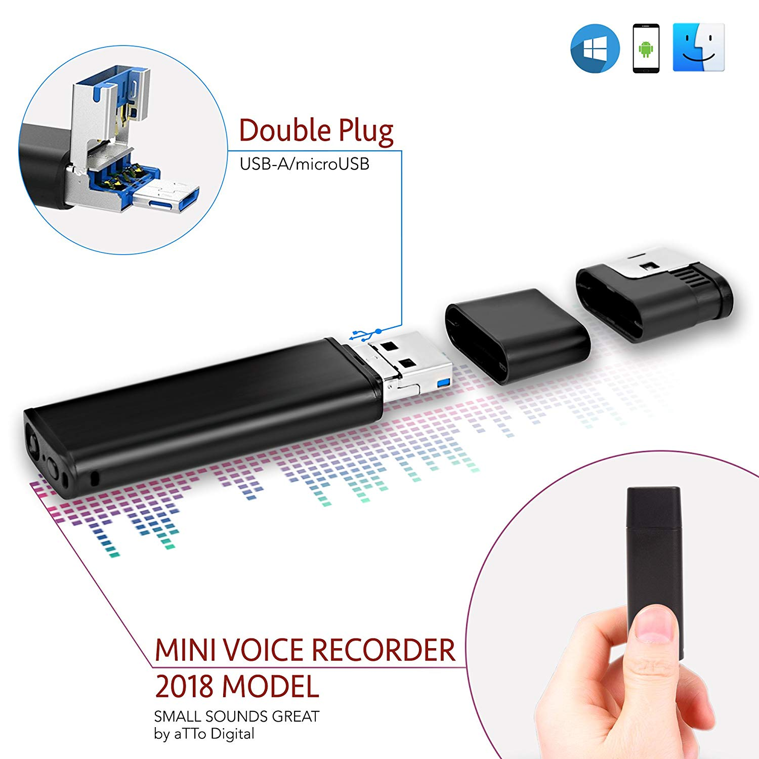 Slim Voice Activated Recorder – USB Flash Drive | 26 Hours Battery | 8GB – 94 Hours Capacity