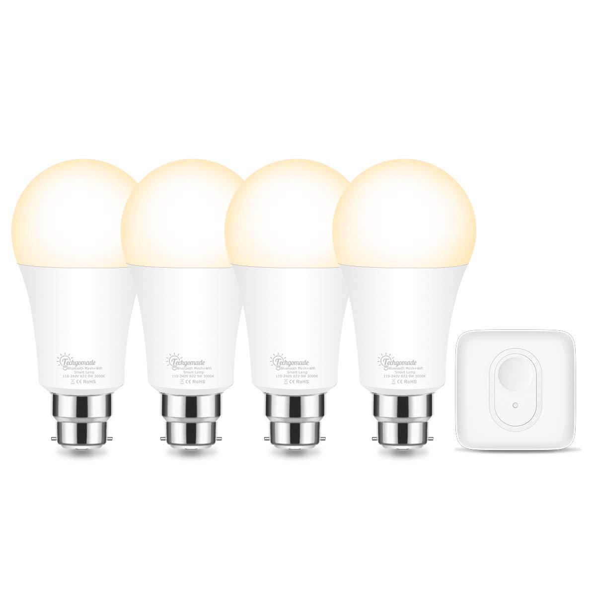 WiFi Smart Bulb B22, Techgomade Warm White 3000K Smart Light Bulbs