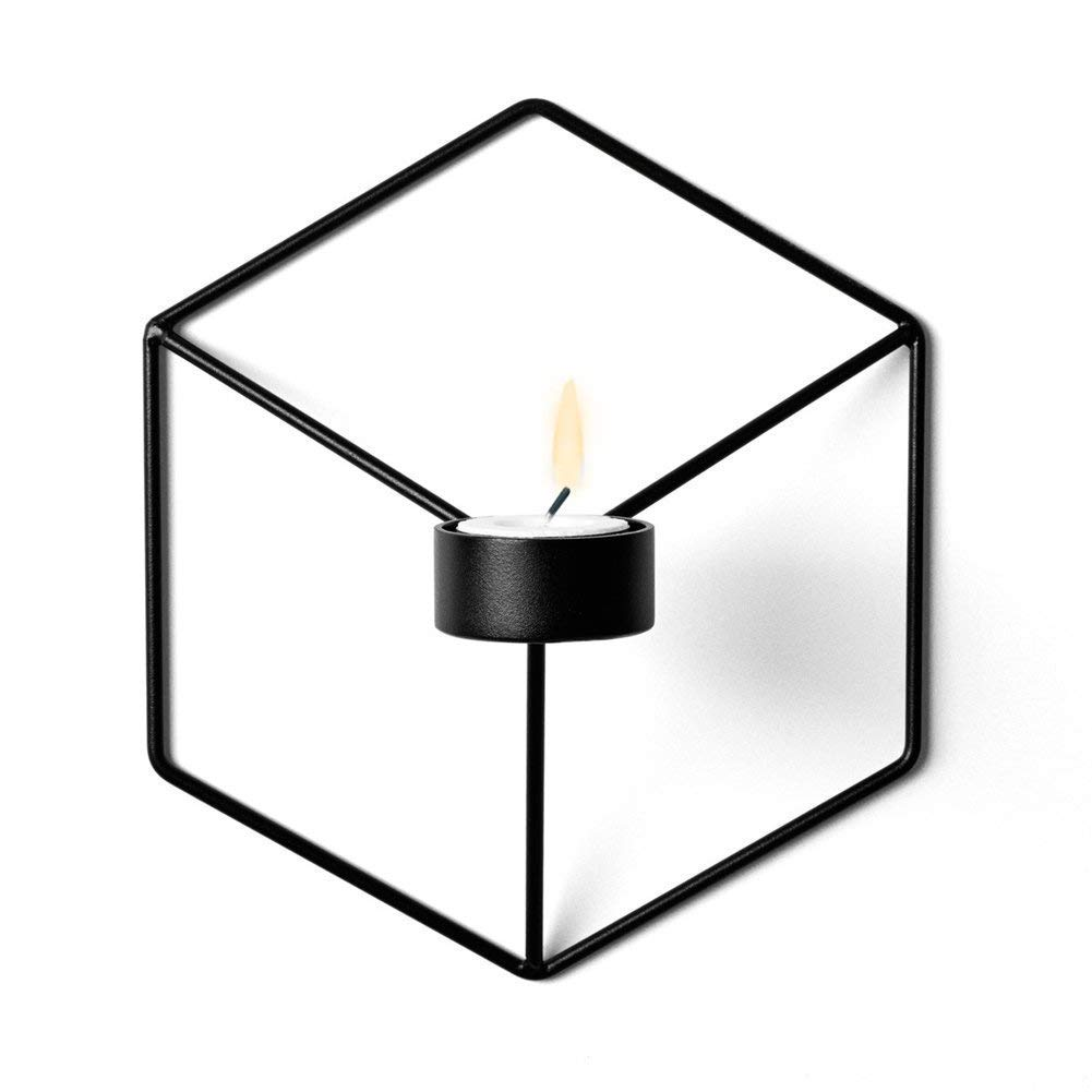 CESHUMD 3D Geometric Candles Holders, Creative Wall Candle Holder Shelf Sconce Candlestick Home Decoration, Black