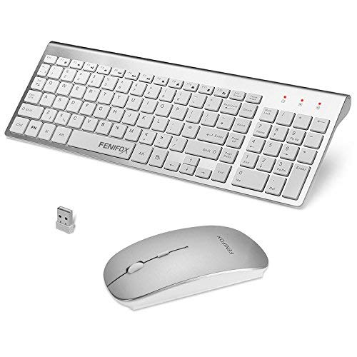 FENIFOX Wireless Keyboard and Mouse,2.4G USB QWERTY UK Layout Slim Thin Ergonomic Quiet Full Size