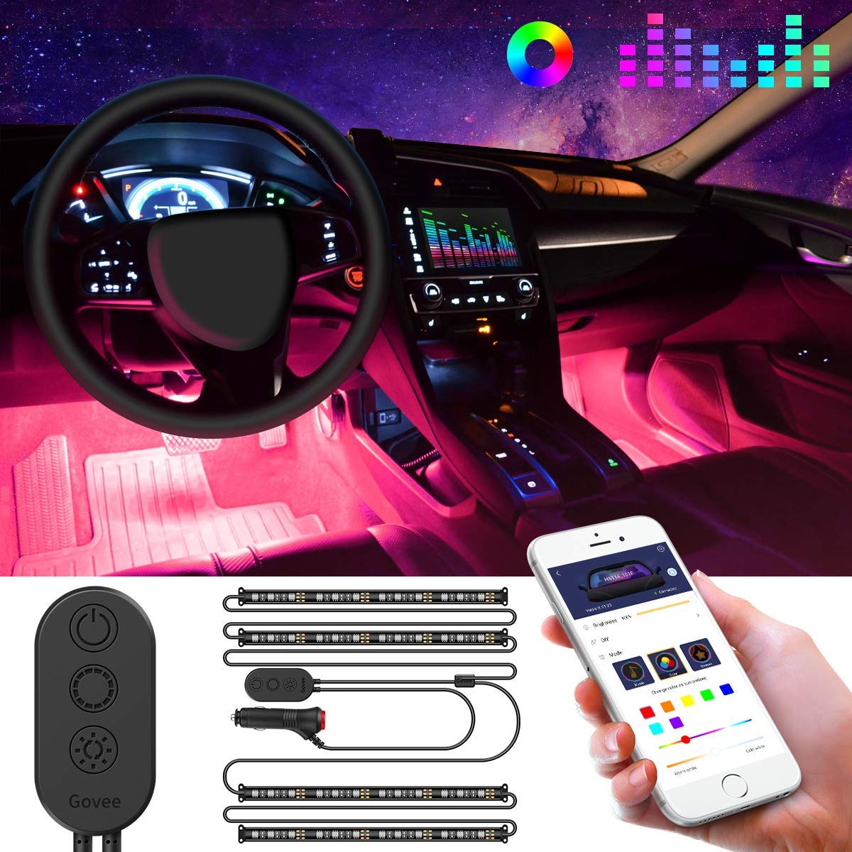 Car Interior Lights, Govee Car LED Strip Light Upgraded Two-Line Design Waterproof 4pcs 48 LED APP Controlled Lighting Kits