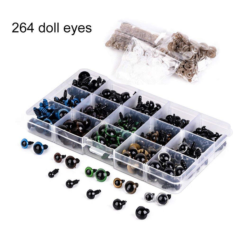 264 Pcs Plastic Safety Eyes 6-12mm with Washers for Doll Making