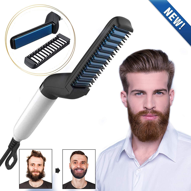 Electric Hair Straightener Brush,Men Quick Beard Straightener Styler Comb