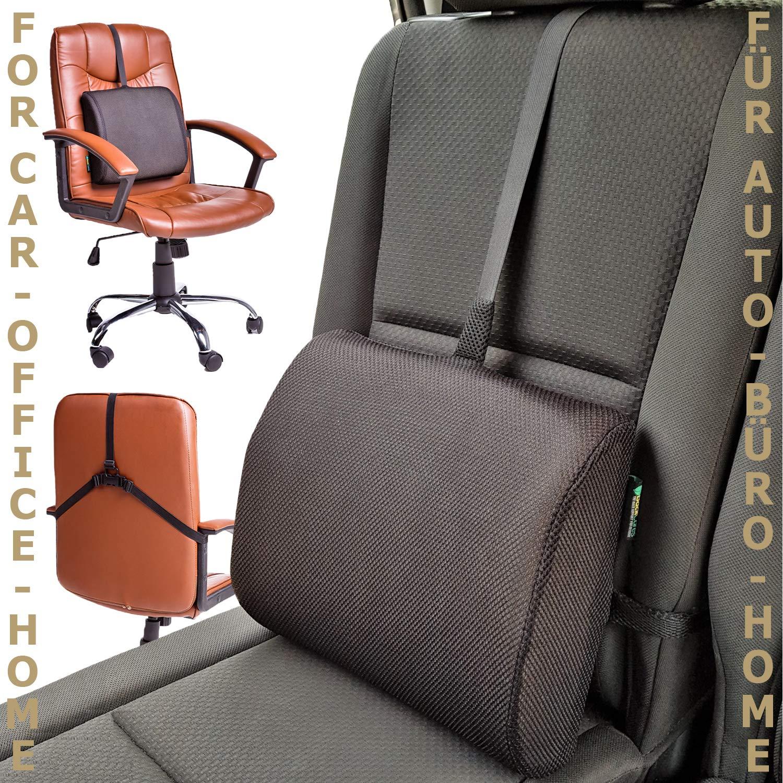 Backcares Lumbar Support Cushion, Lower Back Support Orthopedic Pillow Memory Foam Ergonomic Design