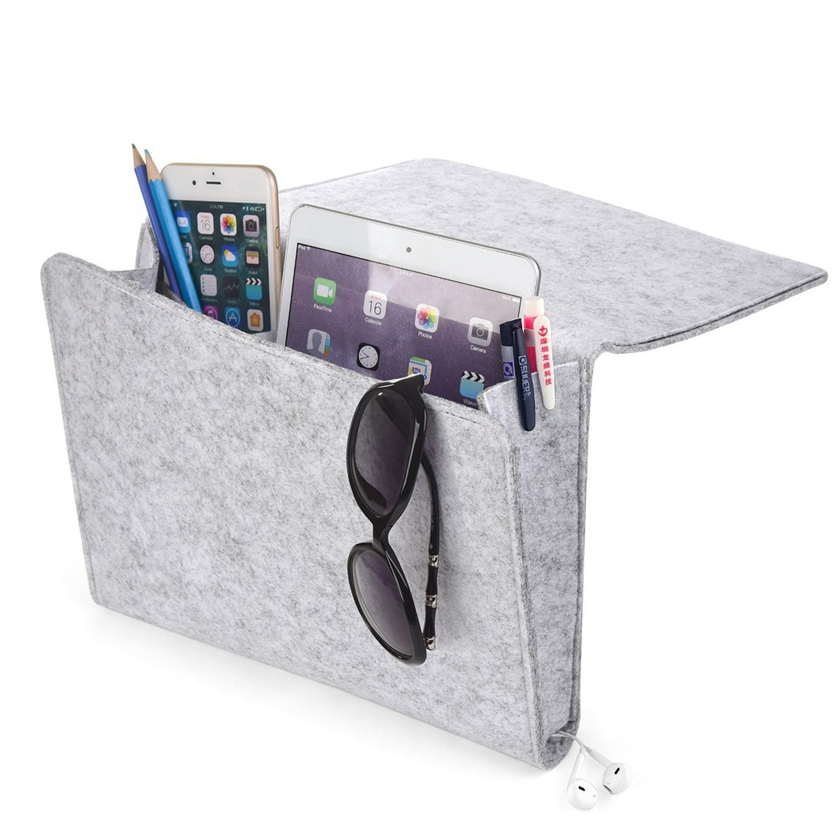 Thicker Bedside Pocket, Felt Bedside Caddy Home Sofa Desk Bed Caddy Storage Organizer with Cable Holes 2 Small Pockets for Organizing Tablet Magazine Phone Small Things Holder