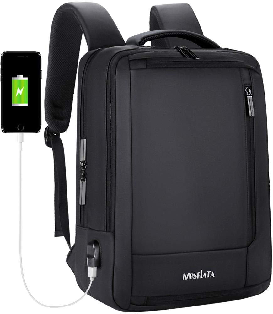 Business Laptop Backpack, MOSFiATA 15.6 Inch Business Backpack with USB Charging Port