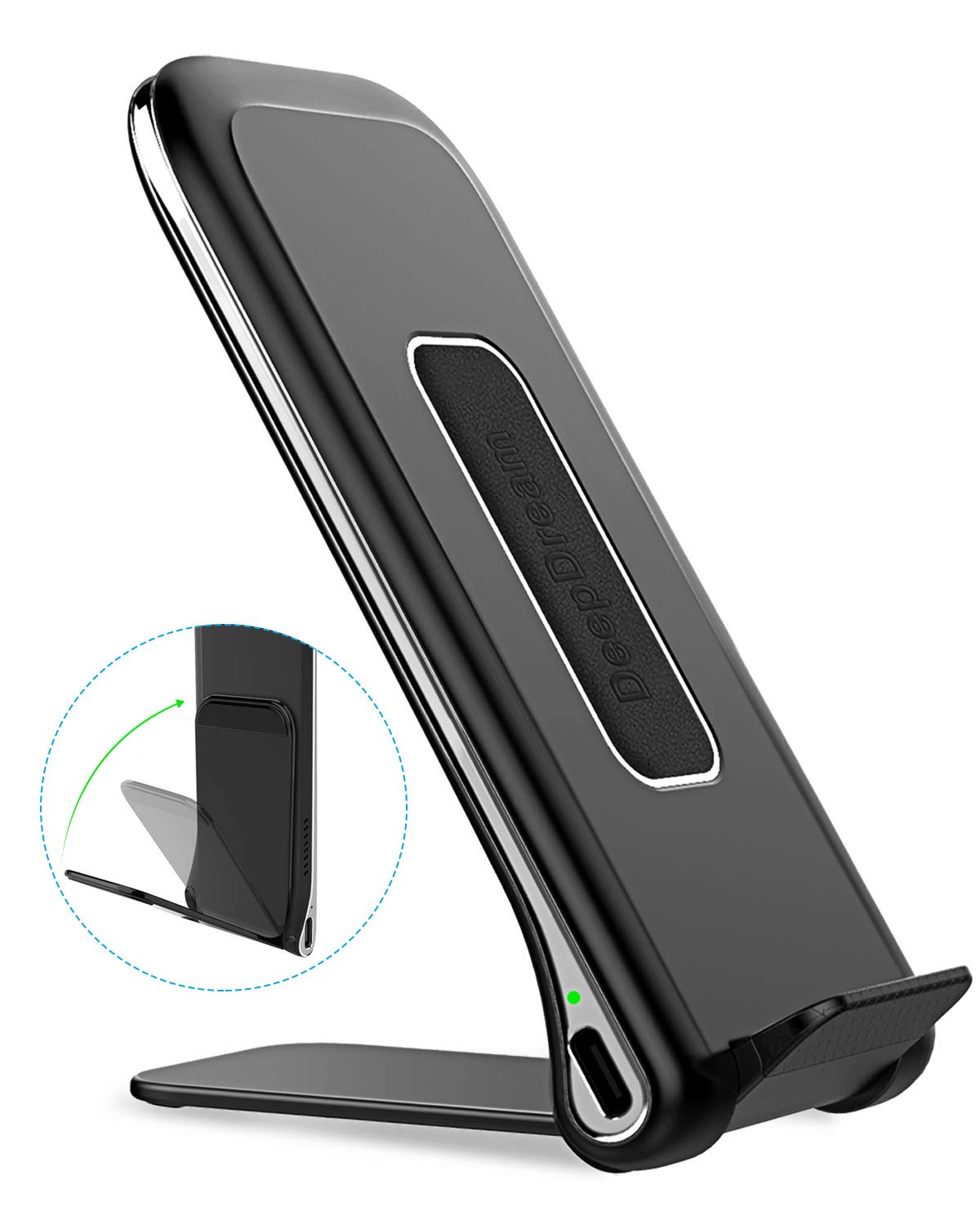 DeepDream Fast Wireless Charger Foldable, 10W Qi-Certified Wireless Charging Stand