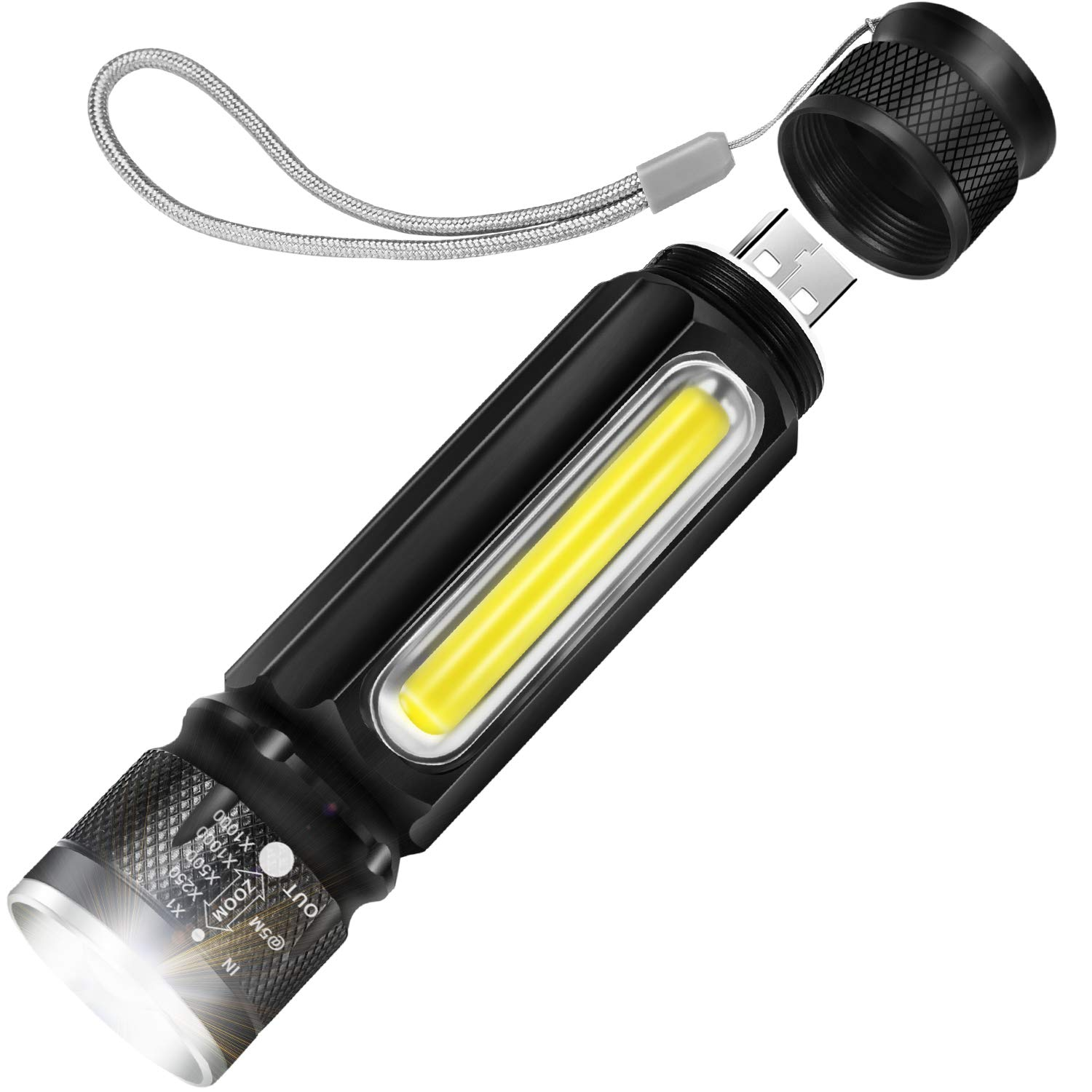 USB Rechargeable LED Torch Super Bright 800 Lumen Pocket Torch
