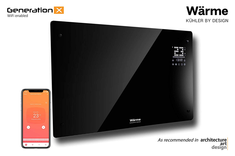 Wärme Designer WiFi Electric Wall Heater Panel Heater Radiator – Ultra Slim (8cm) – 2Kw – Programmable Digital Thermostat – Wall Mountable