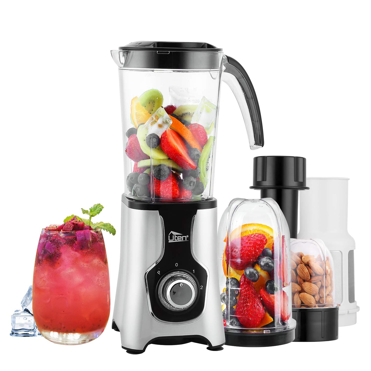 Uten Blender, Multi-functional Smoothie Maker and Mixer for Juicers Fruit Vegetable 220W Automatic Blender Ice Crusher