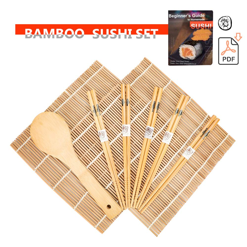 Bamboo Sushi Mat, Beginner Sushi Rolling Mat, Carbonized Sushi Making Kit, Includes 2 Rolling Mats – 5 Pairs Chopsticks