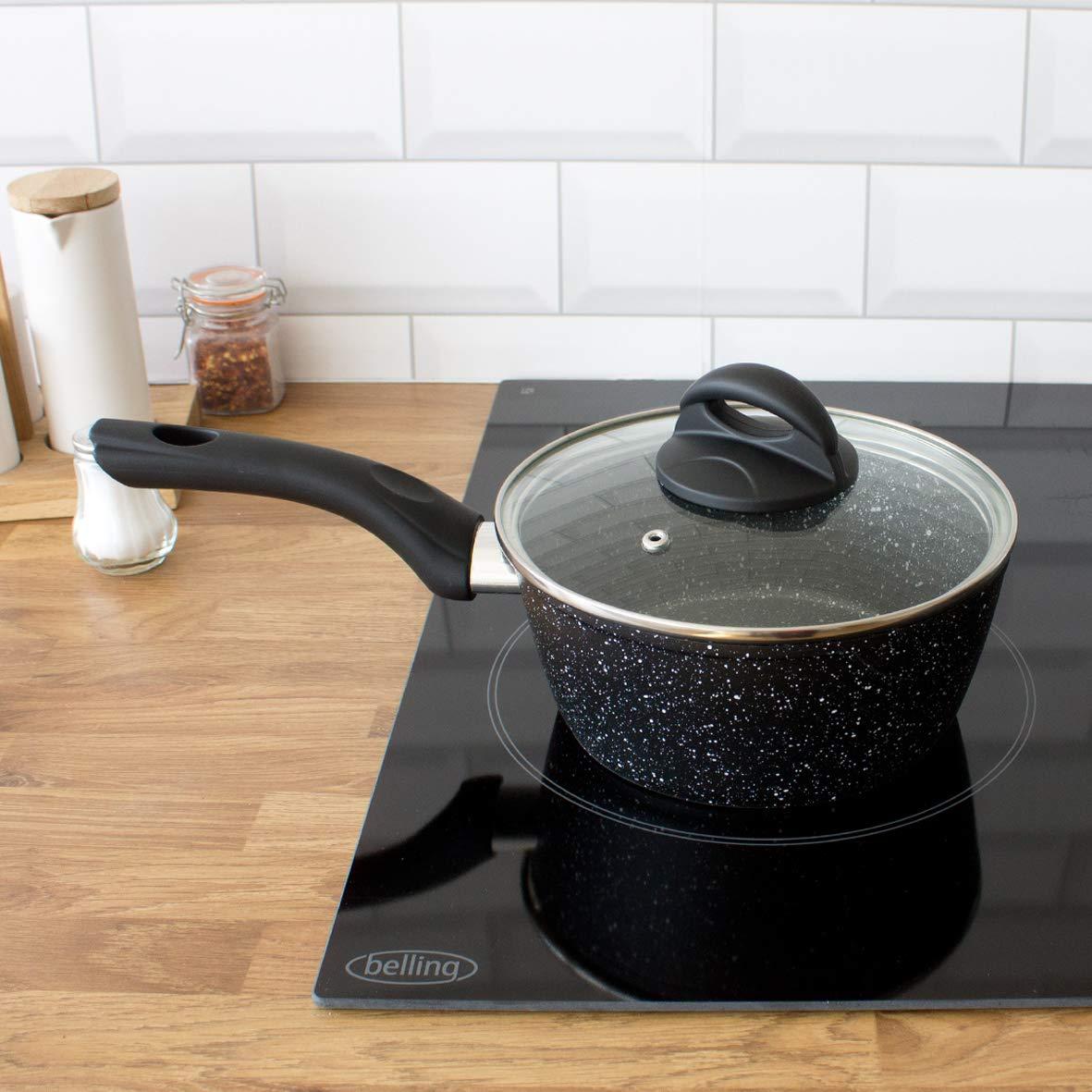 Blackmoor 65740 18cm Non-Stick Saucepan and Lid, Black
