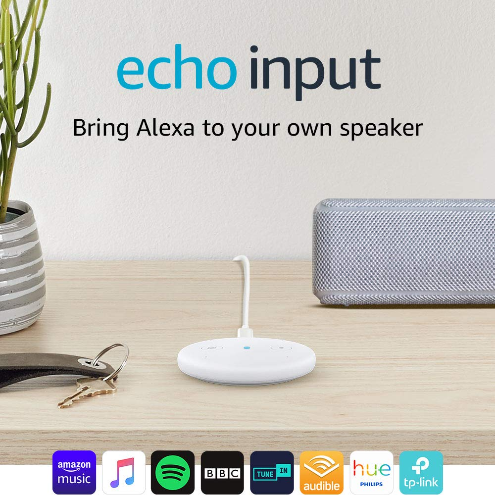 Echo Input (White) – Bring Alexa to your own speaker