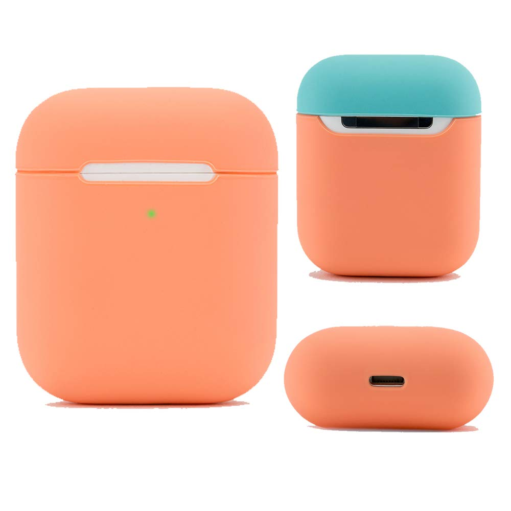 DamonLight Airpods Case Protective Silicone Cover and Skin for Apple Airpods 1 & 2 (Front LED Visible) Charging Case