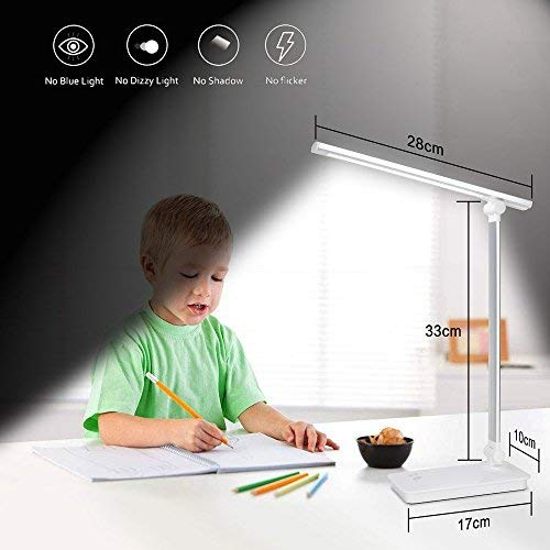 LED Desk Lamp Eye-caring Table Lamp With USB Charging Port Touch Control Reading Lamp 3 Color Modes 5 Levels Dimmable LED Lights