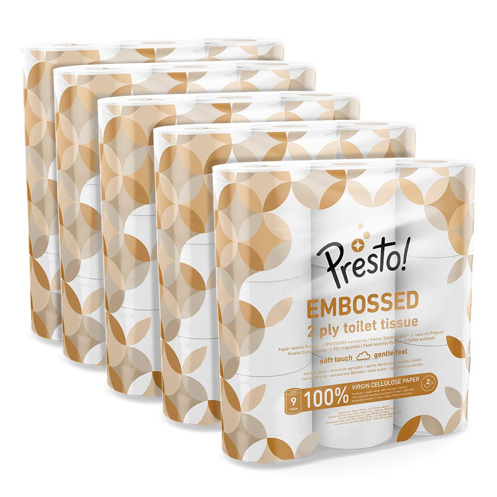 Presto! 2-Ply Embossed Toilet Tissues,45 Rolls (5 x 9 x 200 sheets)