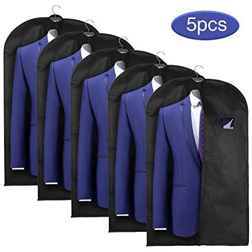 Esonmus Suit Cover 5pcs Garment Bag 128*60 CM Black Breathable Non-Woven Suit Bag