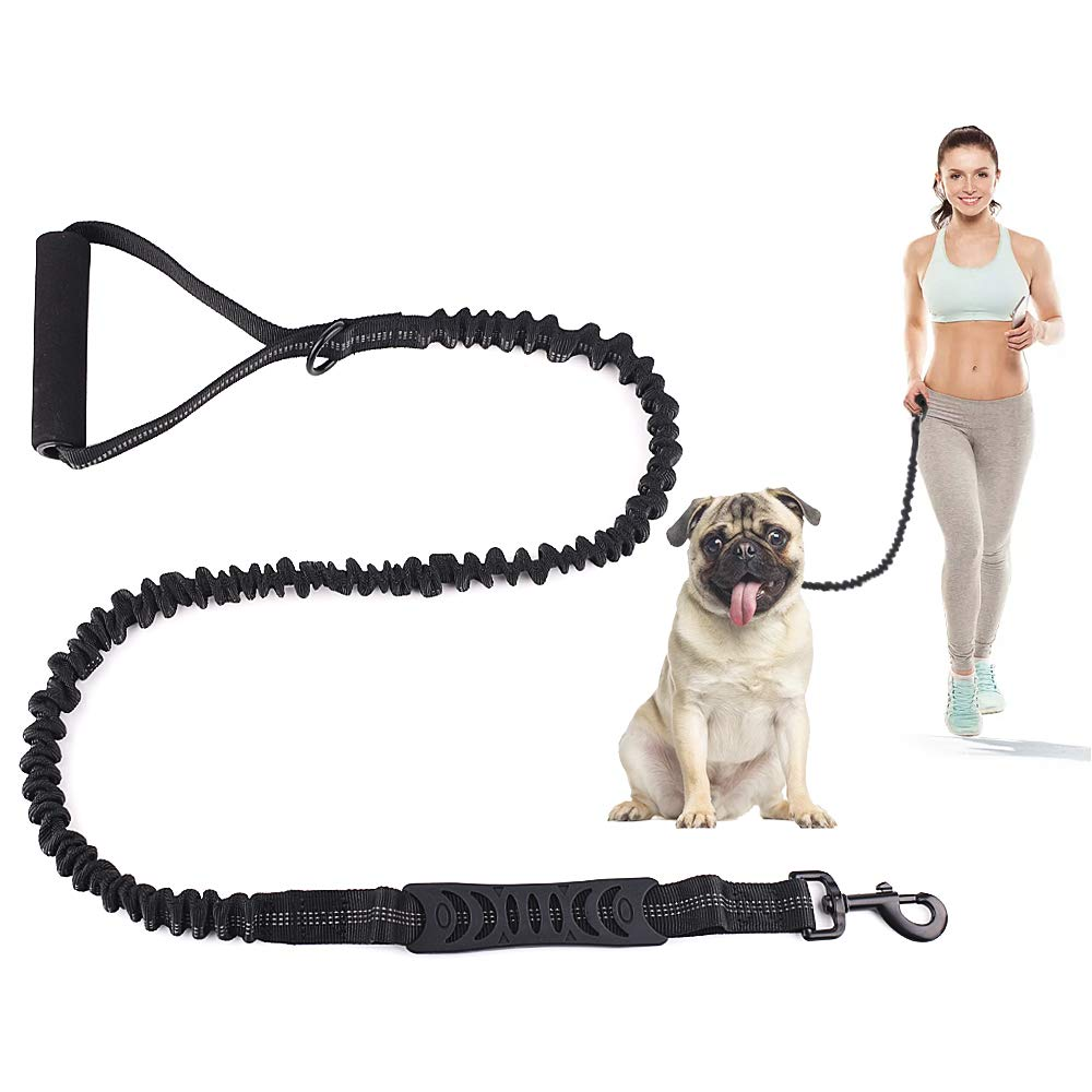 SAN PU Strong Dog Lead with Foam Barrel Handle and Traffic Control Retractable Shock Absorbing Bungee Leash