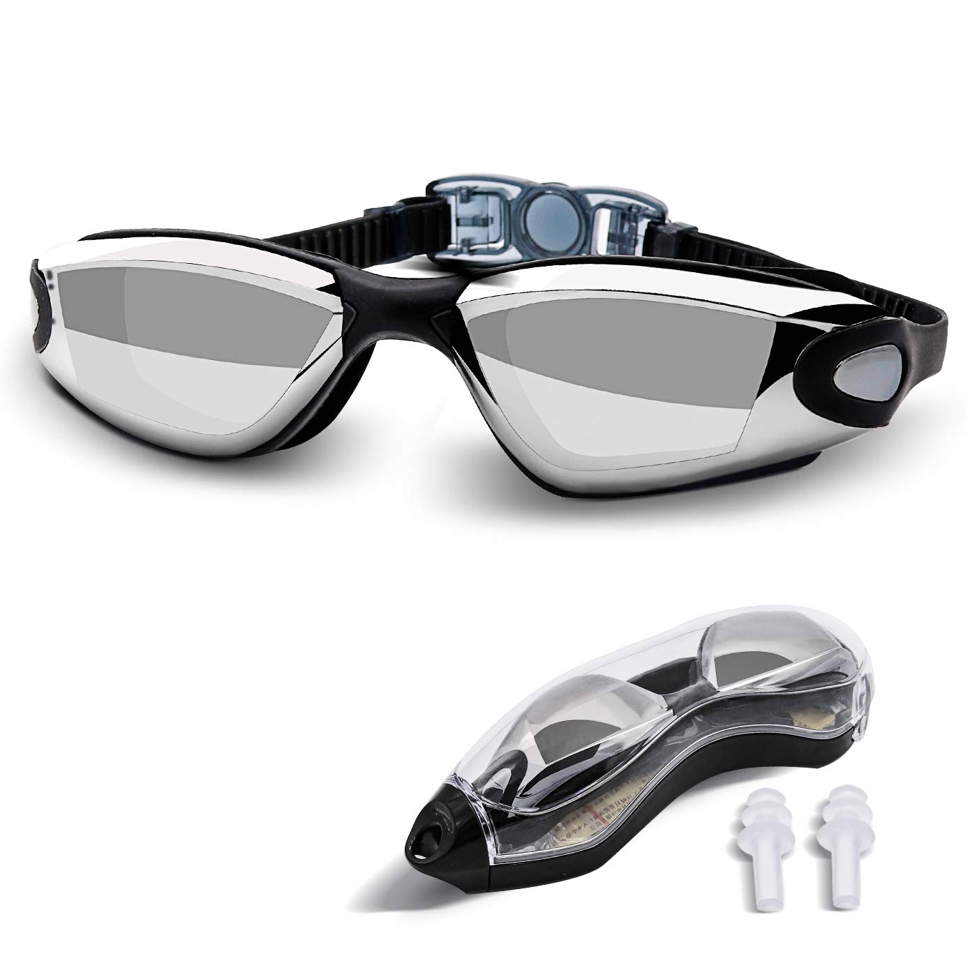 YoJetSing Swimming Goggles For Adult Men Women, Swim Goggles With Ear Plugs No Leaking Anti Fog UV Protection