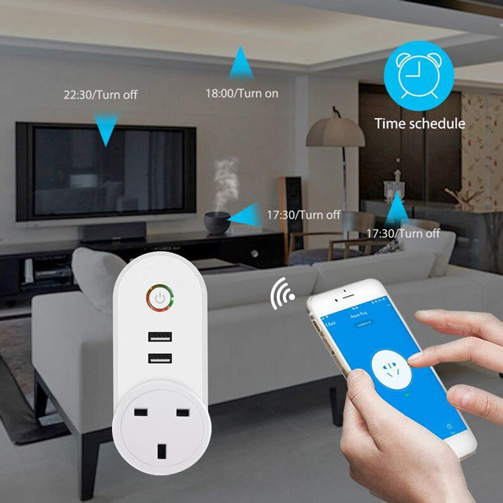 WiFi USB Socket Plug Socket Alexa Accessories Smart Sockets WiFi with USB Output, No Hub Required Timer APP/Voice Controlled Smart Plugs