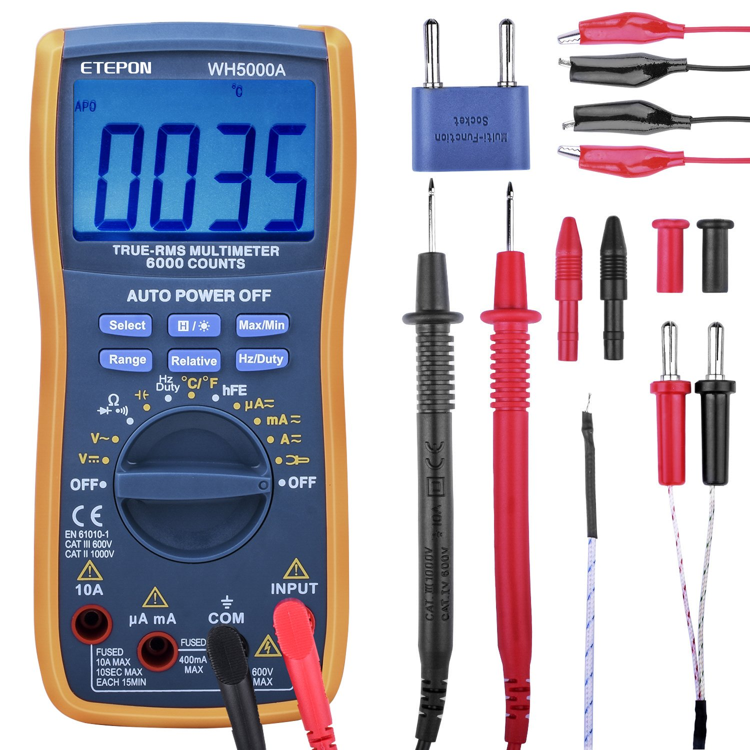 Multimeter, ETEPON TRMS 6000 Counts Digital Ohmmeters Manual and Auto Ranging, Measures Voltage, Current, Resistance, Continuity, Capacitance, Frequency; Test Diodes, Transistors, Temperature