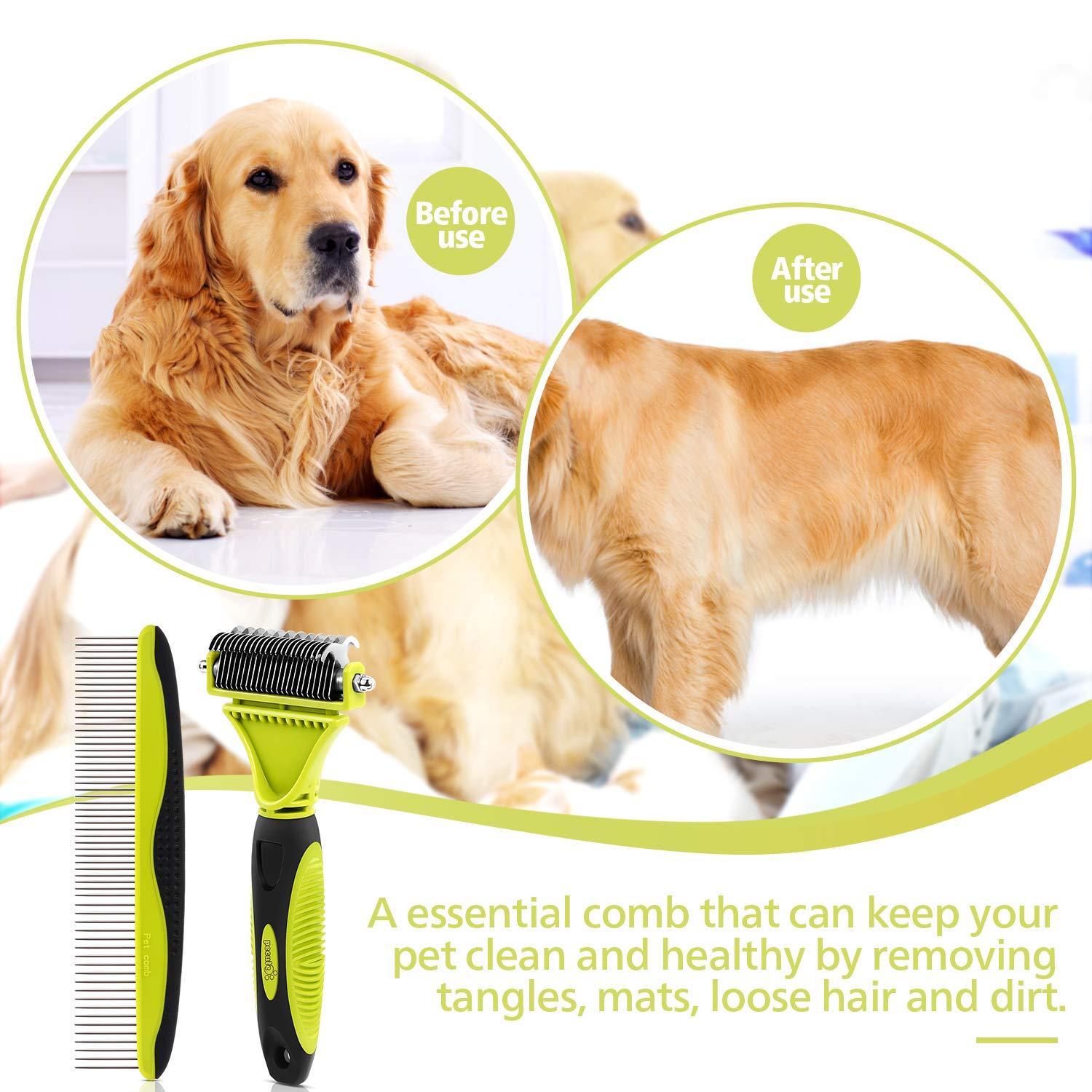 Pecute Grooming Dematting Comb Tool Kit for Pet