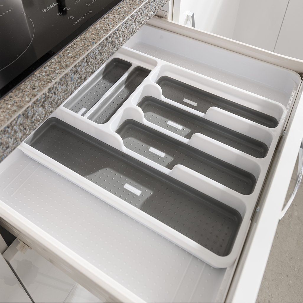 Addis Expandable Drawer Organiser Cutlery Utensil Tray with 6-8 Compartment Holders