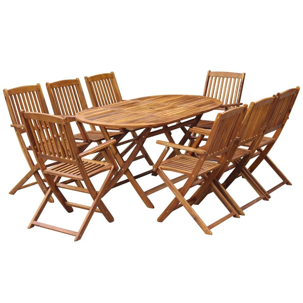 Wood Outdoor Dining Set 9 Piece Folding Table Armchairs