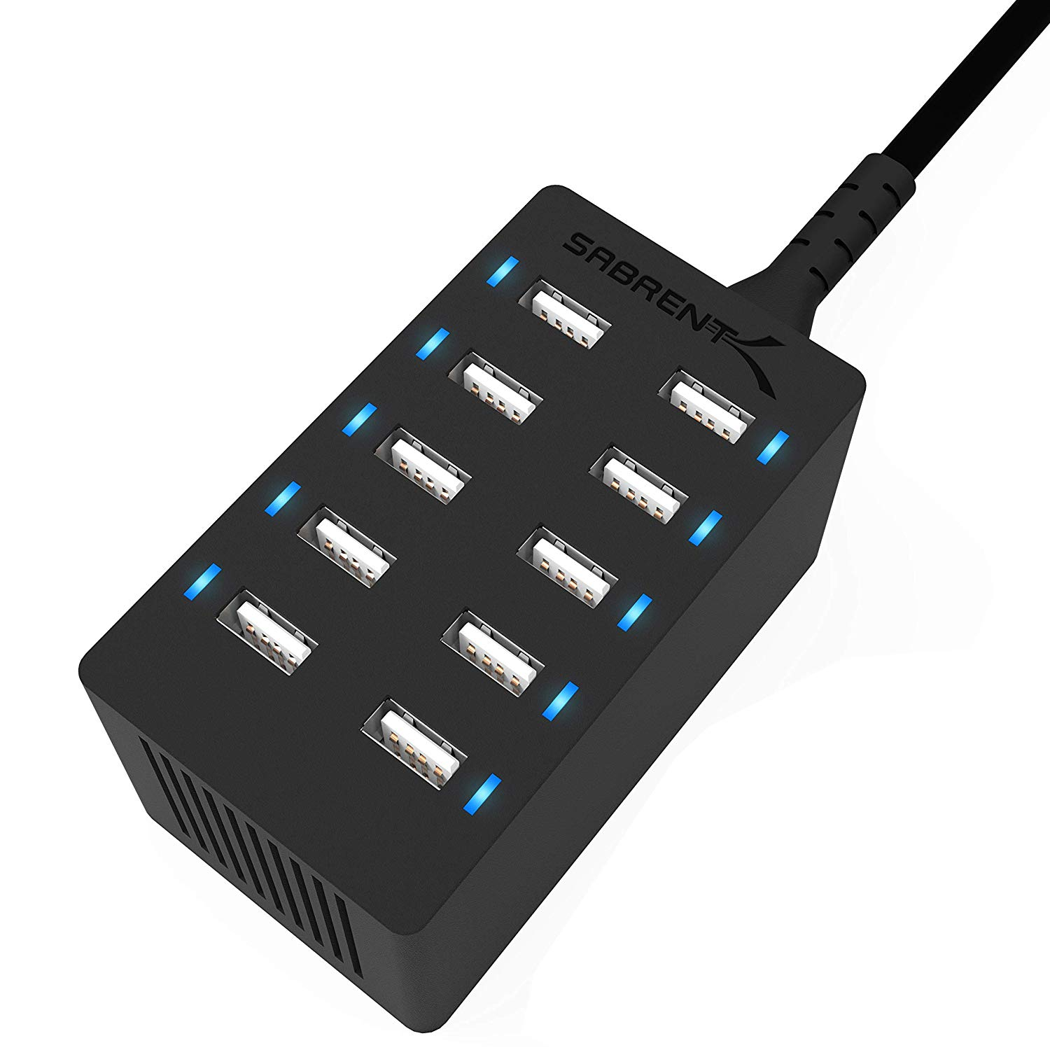 60 Watt (12 Amp) 10-Port Family-Sized Desktop USB Rapid Charger