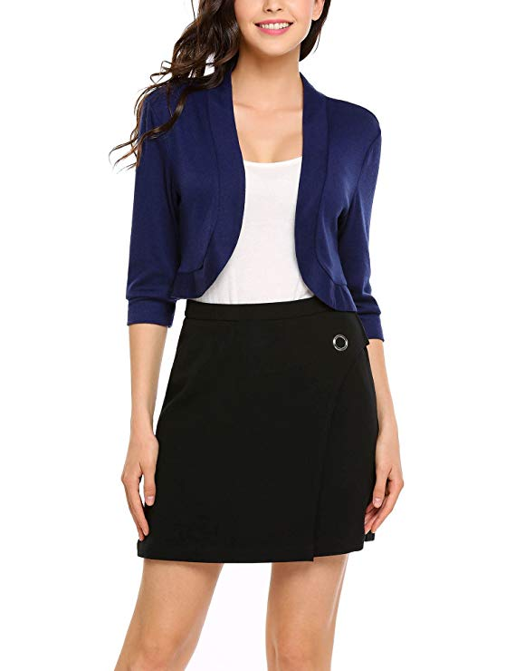 Soteer Women's Casual Front Open Solid 3/4 Sleeve Short Bolero Cardigan Tops