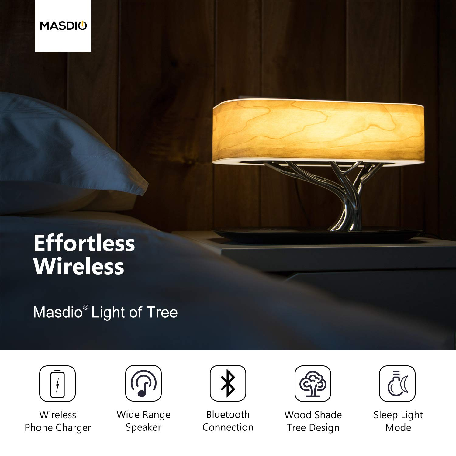 Masdio by Ampulla Bedside Lamp with Bluetooth Speaker and Wireless Charger, Sleep Mode Stepless Dimming