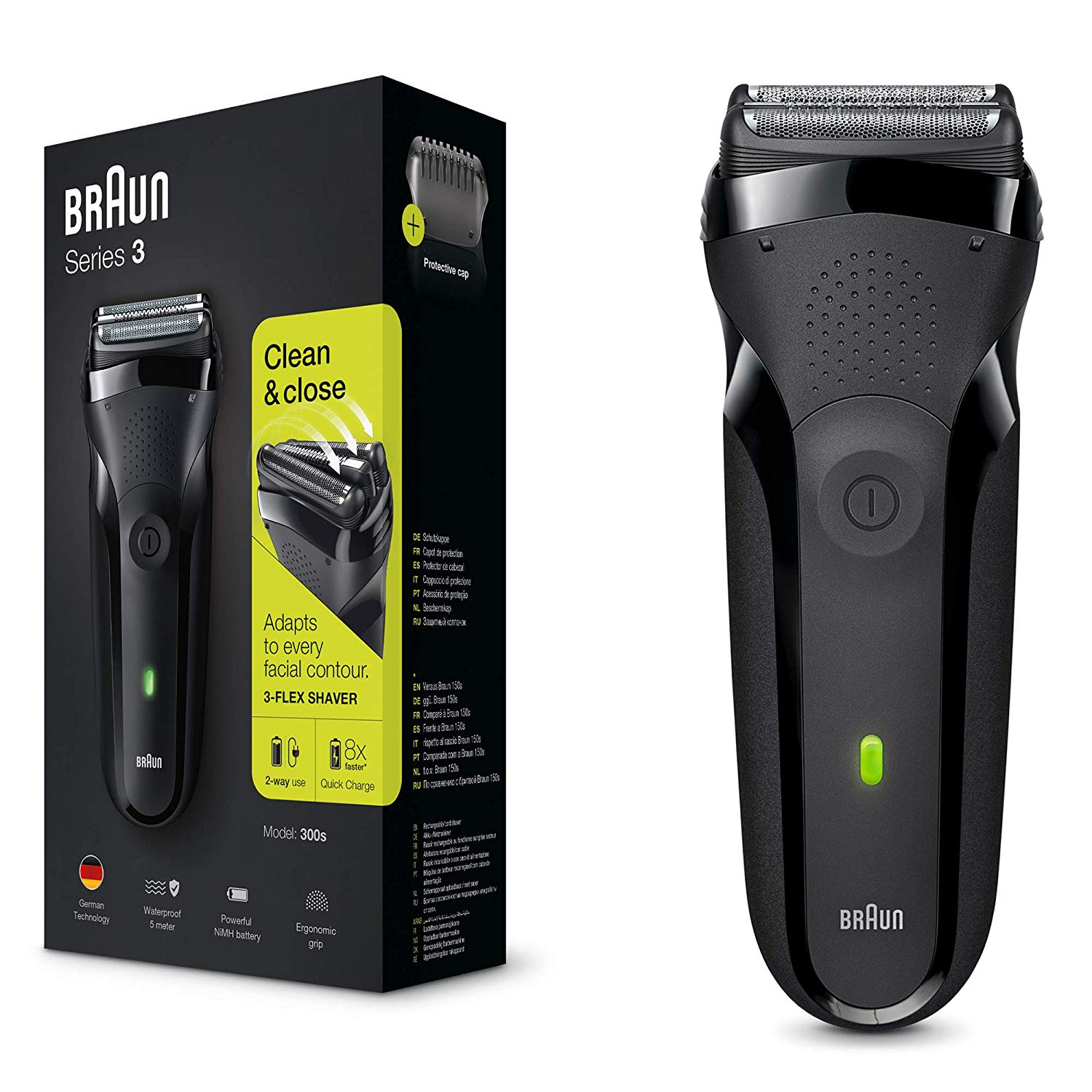 Braun Series 3 300s Electric Shaver for Men/Rechargeable Electric Razor