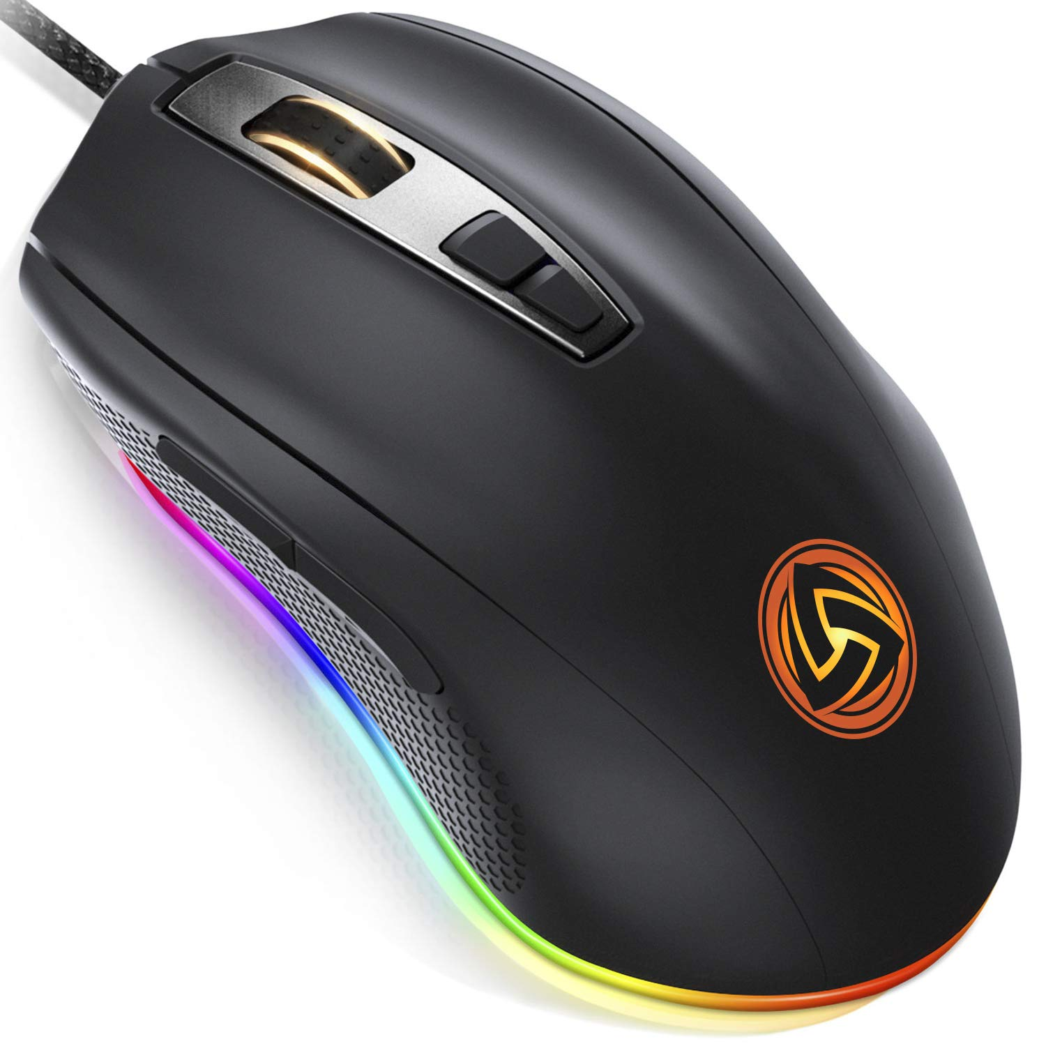 LUDOS FLAMMA Gaming Mouse RGB 10,000 DPI 7 Programmable Buttons Wired USB Ergonomic Gaming Mice